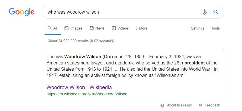 Google search of who was woodrow wilson
