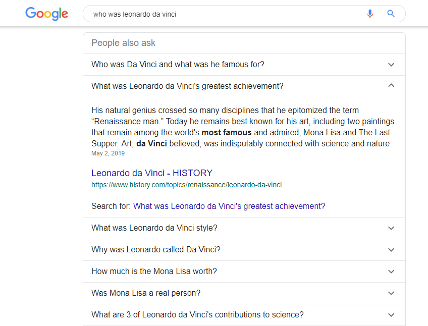 Example of Google's People Also Ask Feature