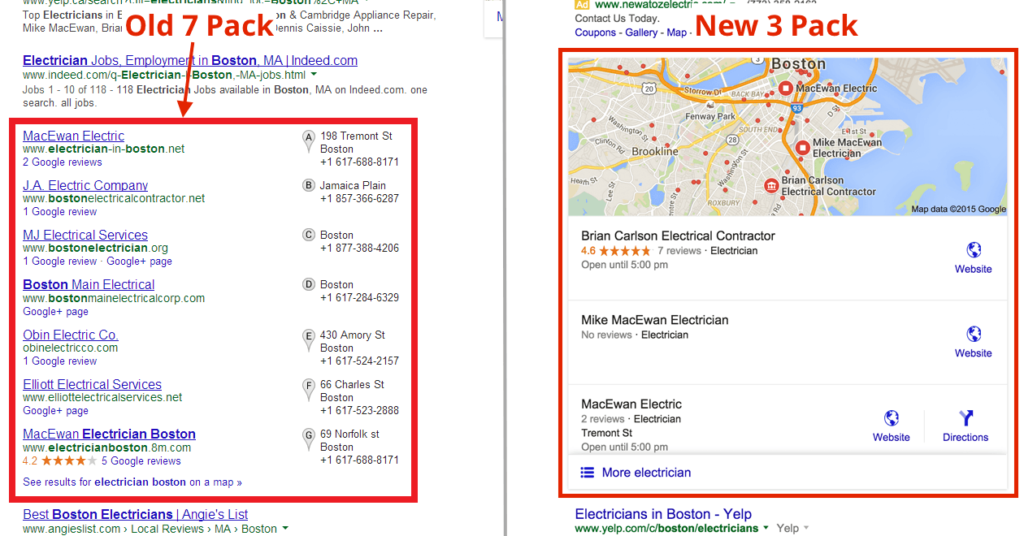 Comparison between Google 3 Pack and & 7 Pack