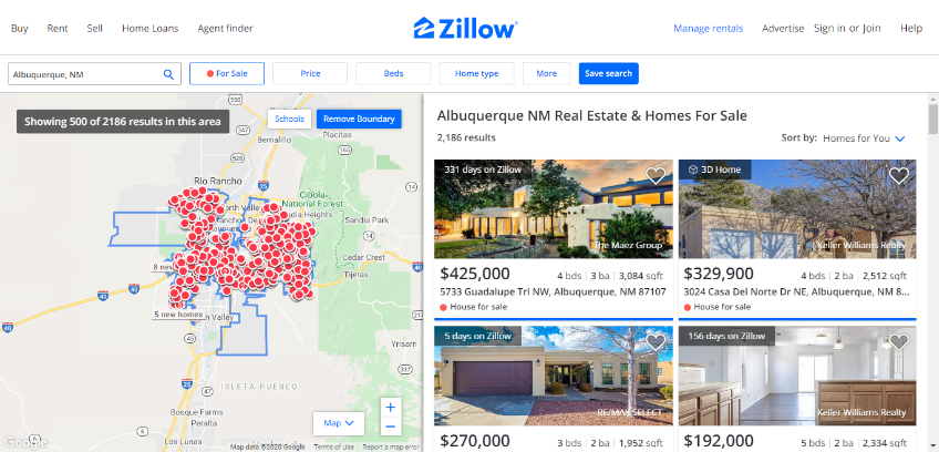 Zillow displaying real estate in Albuquerque, NM