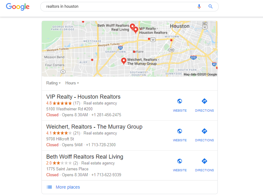 Google 3 Pack showing realtors in Houston