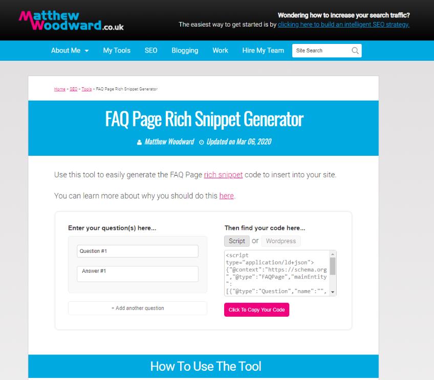 Screengrab of Free FAQ Rich Snippet Generator