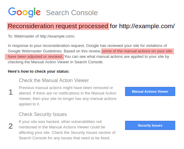 Reconsideration Request Processed By Google