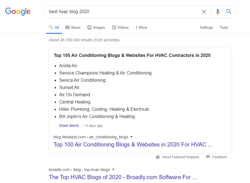 google search for best hvac blog 2020