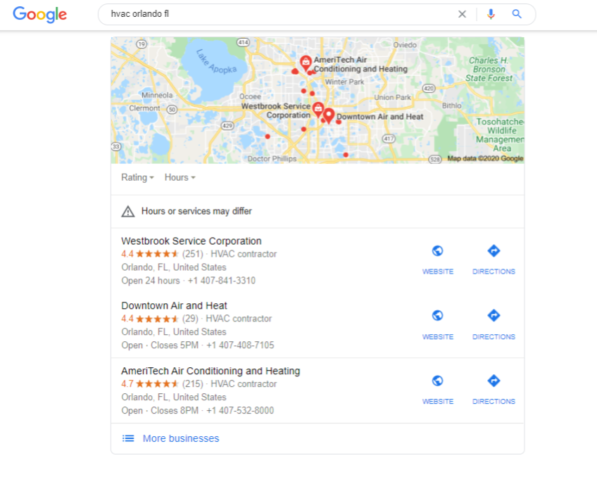 A Google 3-pack showing hvacs in orlando, fl