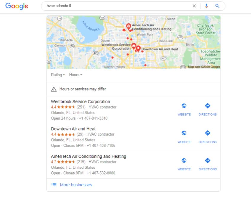 A Google 3-pack showing hvacs in orlando, fl