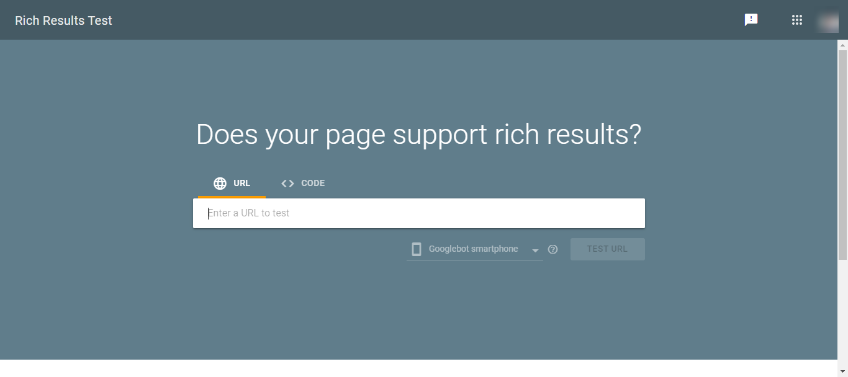 Screengrab of rich results test tool