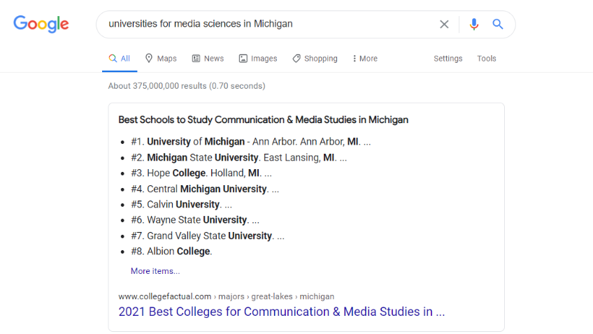 Google Search for Universities for media sciences in michigan