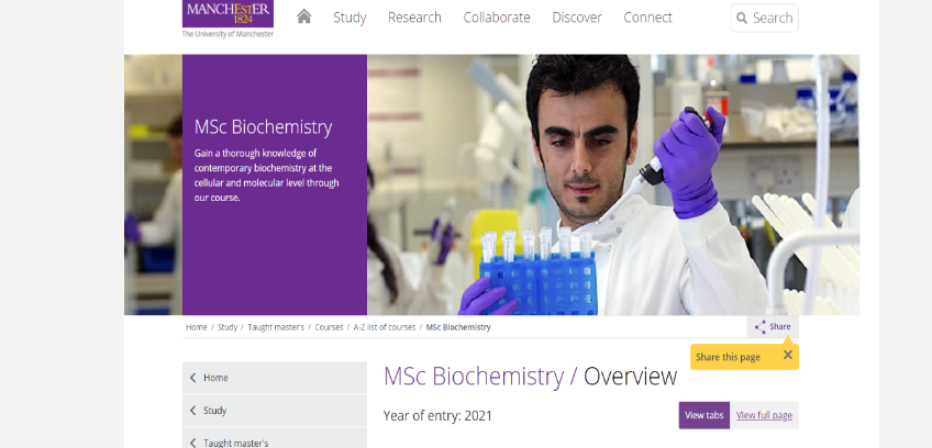 University of Manchester Optimized Landing page