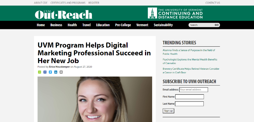 University of Vermont Blog