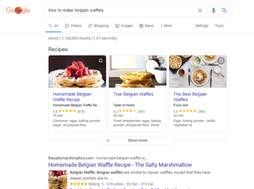 Google search results for how to make belgian waffles