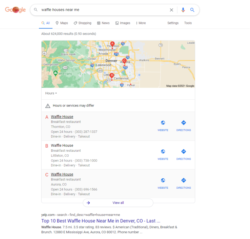 Google search results for waffle houses near me
