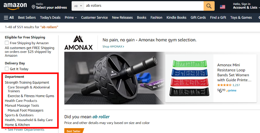 Ab roller Amazon categories example
