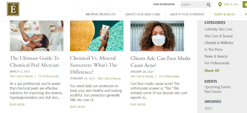 Blog page of a skin-care ecommerce store