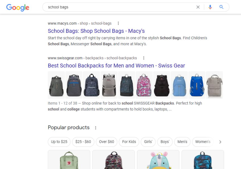 Google SERP for school bags coming on google search