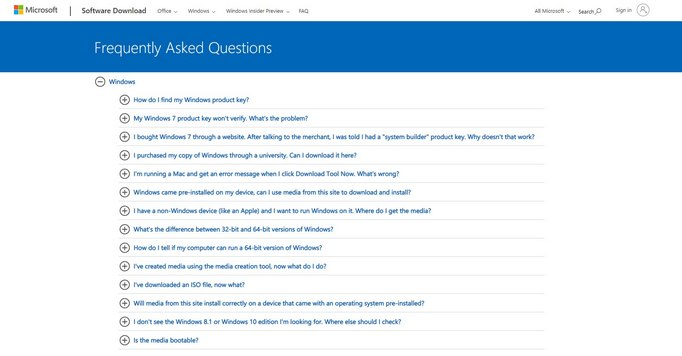 FAQ Example from Microsoft