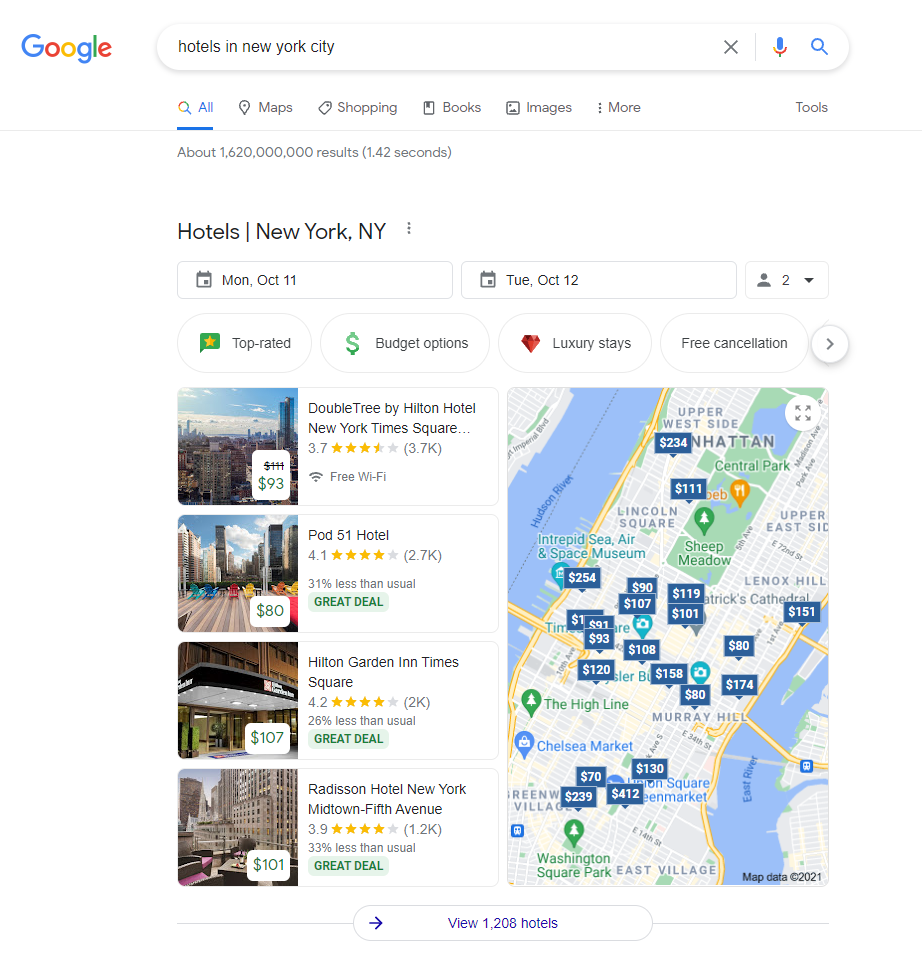 Google search for hotels in new york